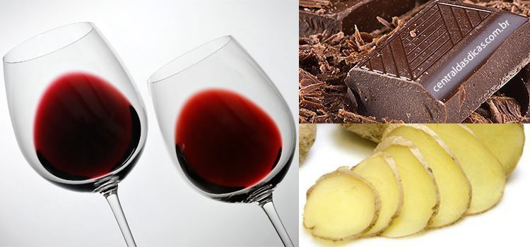 Vinho com chocolate e gengibre